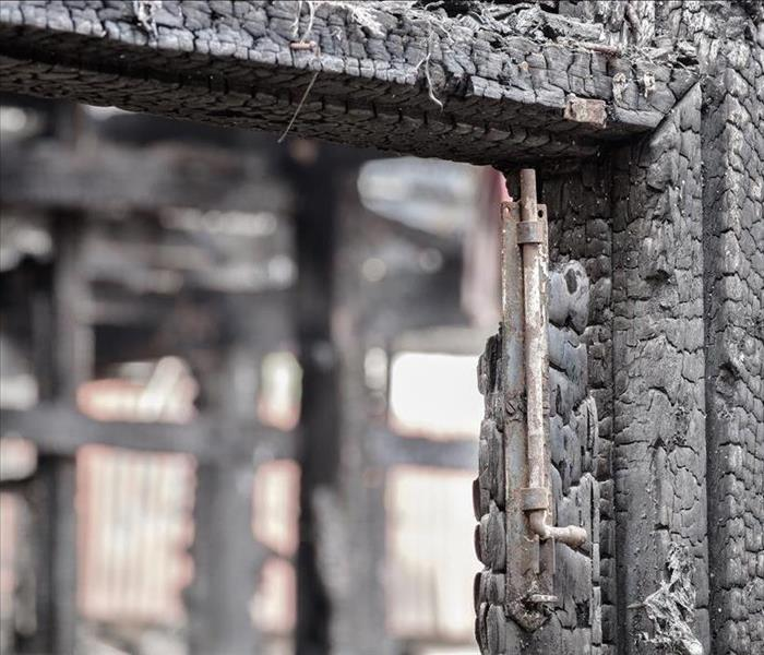 Structure of a window frame burned.